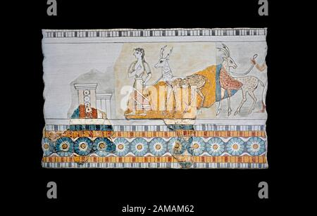 Minoan Wall art freco représentant une procession menant à une chèvre d'Agia Triada (Hagia Triada) Crète. 1450-1300 AV. J.-C. Musée Archéologique D'Héraklion. Bac Banque D'Images