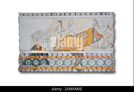 Minoan Wall art freco représentant une procession menant à une chèvre d'Agia Triada (Hagia Triada) Crète. 1450-1300 AV. J.-C. Musée Archéologique D'Héraklion. Whi Banque D'Images