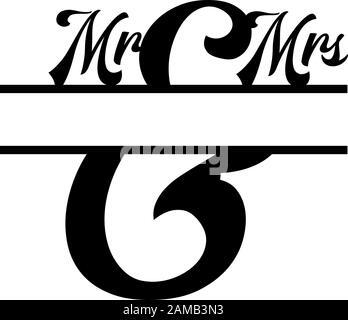 M. et Mme monogramme ont séparé le vecteur initial de la lettre Banque D'Images