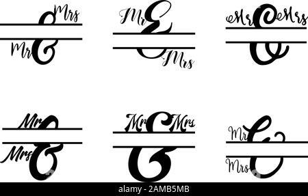 Ensemble de vecteurs initiaux de lettre divisée MR et MRS monogramme Banque D'Images