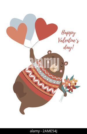 Joli ours avec bouquet de fleurs volantes sur les ballons en forme de coeur dans le style dessiné à la main Banque D'Images