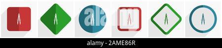 Jeu d'icônes d'apprentissage, illustration vectorielle de conception plate dans 6 options pour webdesign et applications mobiles dans eps 10 Banque D'Images
