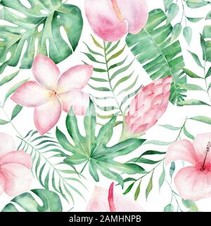 Florale tropicale de fond d'été avec des feuilles de palmiers tropicaux, d'oiseaux exotiques ...