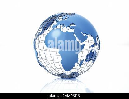 Globe terrestre stylisé avec grille métallique. Vue sur l'Afrique. Sur fond blanc avec une certaine réflexion sur la surface. Banque D'Images