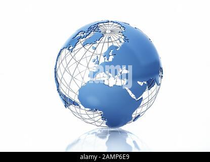 Globe terrestre stylisé avec grille métallique. Vue sur l'Europe. Sur fond blanc avec une certaine réflexion sur la surface. Banque D'Images