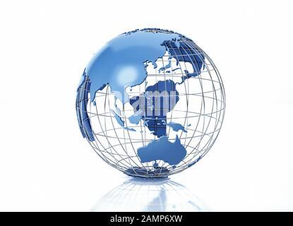 Globe terrestre stylisé avec grille métallique. Vue sur l'Océanie. Sur fond blanc avec une certaine réflexion sur la surface. Banque D'Images