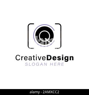 Lettre Initiale Q Modern Lens Camera Logo Idées. Logo inspiration. Illustration Du Vecteur De Modèle. Isolé Sur Fond Blanc Banque D'Images