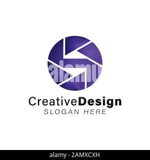 Lettre Initiale S Modern Shutter Camera Logo Ideas. Logo inspiration. Illustration Du Vecteur De Modèle. Isolé Sur Fond Blanc Banque D'Images