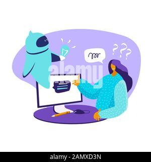 Dialogue aider service femme avec des questions. Chat avec chat en ligne intelligence artificielle Chat bot futur. Concept d'Internet des objets d'affaires ai Banque D'Images