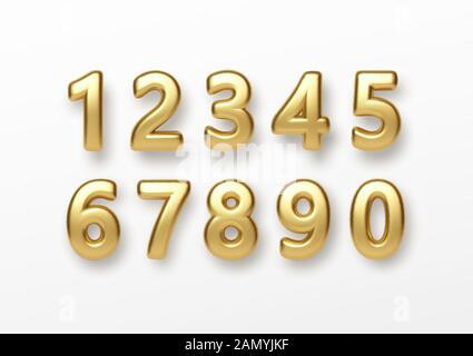 Numéros de lettrage 3D réaliste isolé sur fond blanc. Nombre d'or. Éléments de décoration pour banner, couvrir, anniversaire ou fête d'anniversaire Banque D'Images