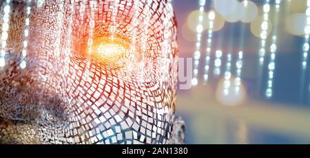 Concept de l'intelligence artificielle et la face du robot cyborg ou Banque D'Images