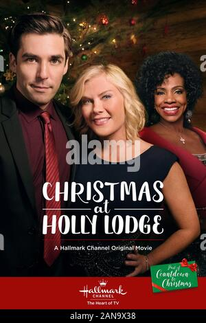 JORDAN BRIDGES, ALISON SWEENEY, SHERYL LEE RALPH, NOËL À HOLLY LODGE, 2017 Banque D'Images