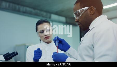 Close up de la jeune femme de race blanche et African American man dans les verres faisant de sang ensemble dans les tubes dans la salle de laboratoire.