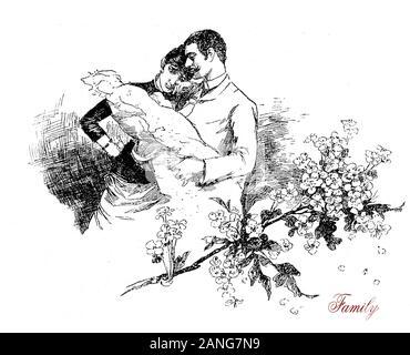 Nous sommes une famille! Le nouveau-né dans les bras tandis que le père ému aux larmes mère regarde le bébé, faire-part de naissance carte avec décoration florale Banque D'Images