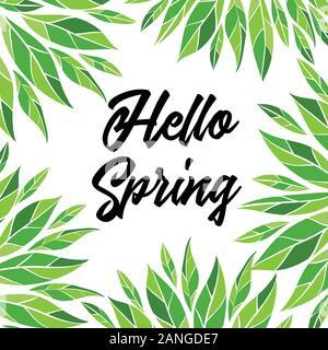Bonjour printemps. Carte vectorielle avec lettrage Banque D'Images
