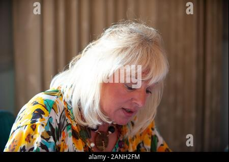 Festival de Windsor, une audience avec Carol Thatcher, Harte & Garter Hotel, Windsor, Berkshire, Royaume-Uni. 19 Septembre, 2008. Carol Thatcher, fille de l'ancien premier ministre Margaret Thatcher, parle de sa vie et ses deux livres d'une baignade sur la partie dans la maison de verre et QE2 célèbre quarante ans. Credit: Maureen McLean/Alamy Banque D'Images
