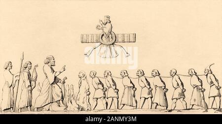 La liste de l'UNESCO par des gravures de Darius à Behistun. Relief représentant le roi Darius face à un groupe d'hommes, attachés ensemble, représentant les rebelles vaincus par les K Banque D'Images