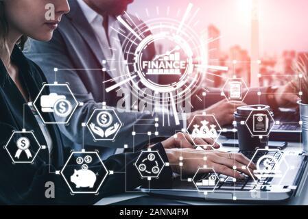 Finances et des transactions d'argent Technologie Concept. Interface graphique, l'icône montrant fintech d'échanges, d'analyse et de statistiques sans but lucratif Analyste de marché Banque D'Images