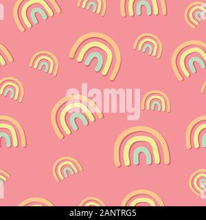 Les arcs-en-ciel moderne modèle homogène. Arc-en-ciel contemporain pastel forme sur fond rose. Dessinés à la main, simple illustration. Papier d'emballage élégant. Girly