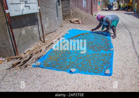 Fadiouth, le Sénégal, l'Afrique - 26 Avril 2019: une femme sénégalaise non identifiables sur une couverture bleue et les sèche au soleil afin qu'elle peut vendre Banque D'Images