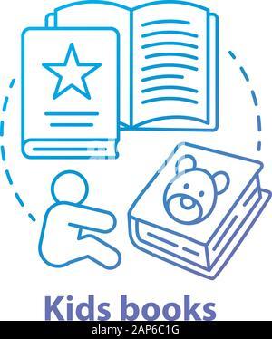 Enfants livres concept bleu icône. La littérature pour enfants idée fine ligne illustration. Des contes, des livres d'images, des poèmes pour enfants. Exercice d'éducation préscolaire