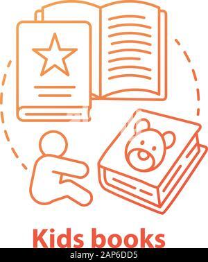 Enfants livres concept rouge icône. La littérature pour enfants idée fine ligne illustration. Des contes, des livres d'images, des poèmes pour enfants. L'exercice de l'éducation préscolaire