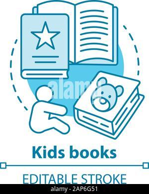Enfants livres concept icône. La littérature pour enfants idée fine ligne illustration. Des contes, des livres d'images, des poèmes pour enfants. Des exercices d'éducation préscolaire. V