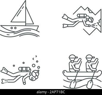 Icons set linéaire de sports nautiques. . Grotte sous-marine, voile et le rafting. Types de sport extrême. Activités d'été .Fine ligne contour des symboles. Vecto isolés Banque D'Images