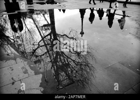 Réflexions des piétons London Eye branches d'arbres d'hiver sans feuilles dans une grande flaque d'eau sur le pavé de la rive sud de Londres Banque D'Images