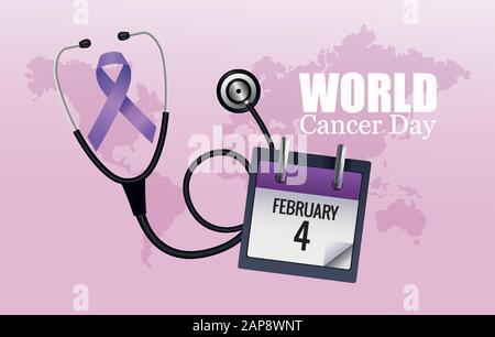 affiche de la journée mondiale du cancer avec calendrier et stéthoscope Banque D'Images