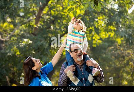 Grand-mère avec petite-fille assise sur l'épaule du grand-père au parc