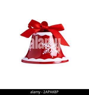 Cloche de Noël rouge isolée sur fond blanc Banque D'Images