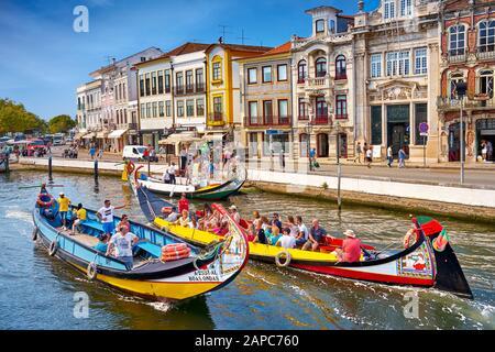 Sao Roque, Canal, Bateaux Moliceiro Aveiro, Portugal Banque D'Images