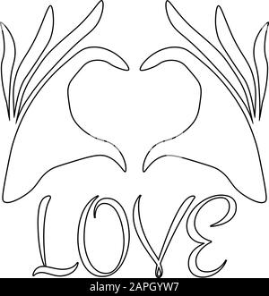 Motif tatouage ou imprimé - deux mains profilées dans le geste du cœur Banque D'Images