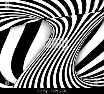 Lignes noir et blanc illusion d'optique. Abstract background vector spirale à rayures Banque D'Images