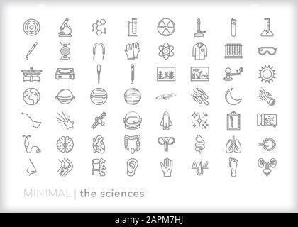 Ensemble de plus de 50 symboles de la ligne d'enseignement scientifique de la biologie, de la physique, de la chimie, de l'anatomie, de l'astronomie pour l'apprentissage et l'enseignement des principes scientifiques de base Banque D'Images
