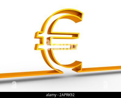 Contour Euro symbole sur fond blanc. Le rendu 3D Banque D'Images