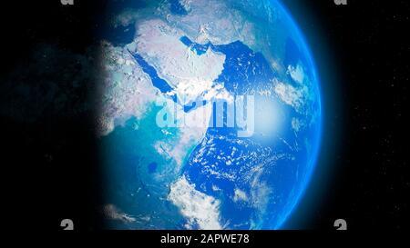 La terre de l'espace - Afrique et Asie Banque D'Images
