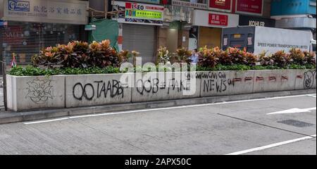 Vandalisme Sur La Médiane De Lockhart Road, Wan Chai, Hong Kong Banque D'Images