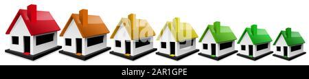 Illustration tridimensionnelle de sept maisons de différentes tailles avec toits colorés, rouge, orange, jaune et vert, formant une évaluation de l'efficacité énergétique. Banque D'Images