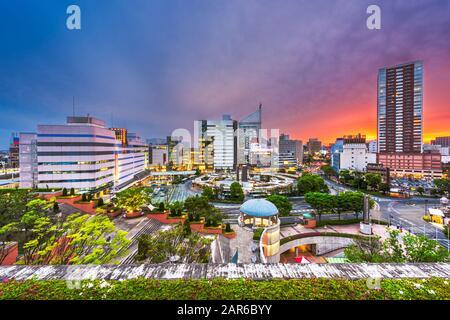 Hamamatsu City, Shizuoka, Japon centre ville horizon au crépuscule. Banque D'Images
