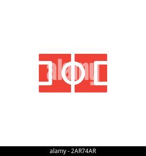 Icône Rouge Du Terrain De Football Sur Fond Blanc. Illustration Vectorielle De Style Plat Rouge. Banque D'Images