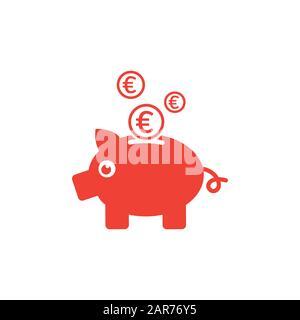 Piggy Bank Red Icône Sur Fond Blanc. Illustration Vectorielle De Style Plat Rouge. Banque D'Images