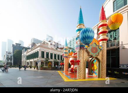 Singapour. Janvier 2020. Les installations pour le nouvel an chinois en dehors de la jonction Bugis Banque D'Images