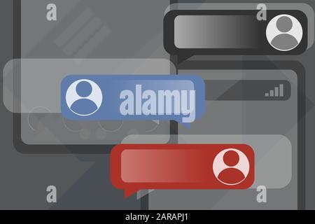 Développement et conception de Chatbot Messenger. Illustration vectorielle du centre d'appels, de la prise en charge des utilisateurs ou du service en tant que concept de cloud Banque D'Images