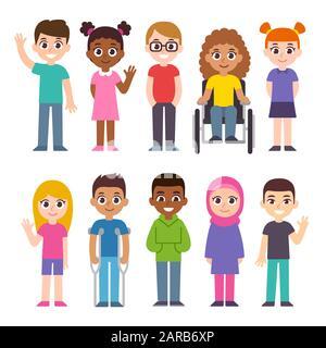 Mignon groupe de dessins animés d'enfants. Jeu d'illustrations de clips d'inclusion et de diversité. Enfants de cultures et de couleurs de peau différentes, enfants handicapés. Banque D'Images