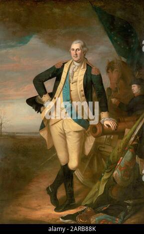 Charles Willson Peale ( 1741–1827 ) , Portrait de George Washington vers 1779 - 17781 ( 1732 - 1799 ) premier président de l'état-unis d'amérique ( huile sur toile 2,41 x 1,56 ) Banque D'Images