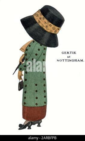 Comic Postcard - satire sur le penchant pour les femmes à porter de grands chapeaux et enveloppants pendant cette période - Gertie à Nottingham. Date : vers 1907 Banque D'Images