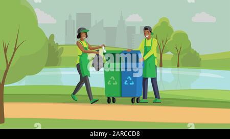 Volontaires nettoyage parc plat illustration vectorielle. Protection de l'environnement, réduction de la pollution de la nature, gestion des déchets. Les gens qui prennent des ordures dans les poubelles pour recyclage, les militants personnages de dessins animés Banque D'Images