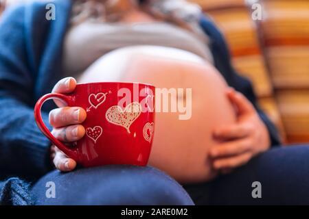 Un foyer sélectif à faible angle d'une femme fortement enceinte bénéficiant d'une bière chaude dans la nouvelle tasse rouge de Valentin, tenant le ventre gonflé se déplaçant bébé Banque D'Images